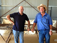 Jim Vandeleur with Geoff Mengerson in his new shearing shed on Depot Springs Station.